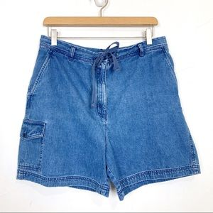 Vintage high waisted jean mom shorts cotton blue